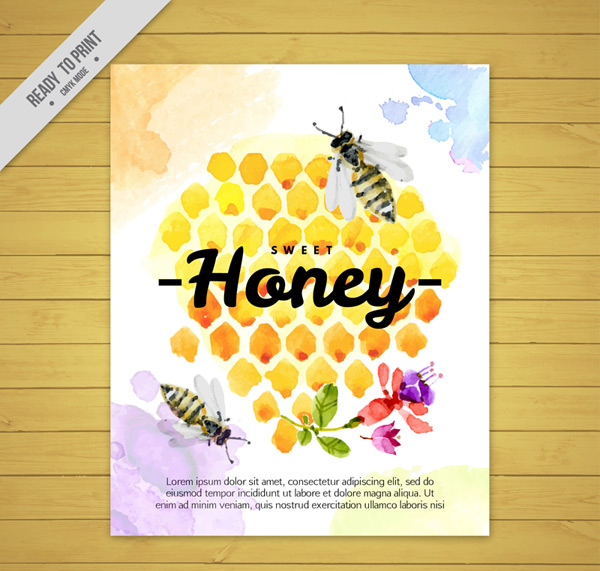 Honeycomb and bee cards Vector AI