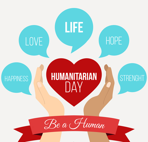 Humanitarian Day greeting cards Vector AI