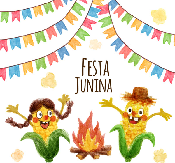Colored corn in June, the Brazilian day Cards Vector AI