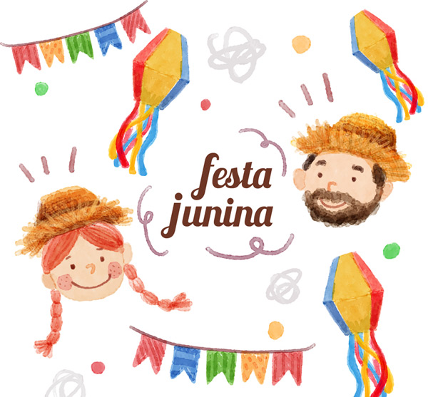 In June, the Brazilian day cards Vector AI