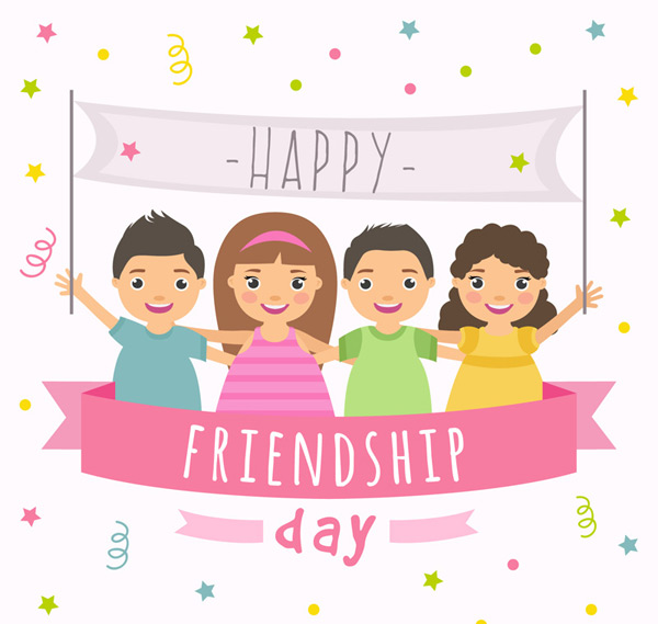 International friendship day cartoon Vector AI
