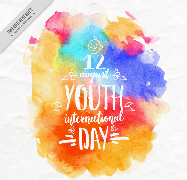 International Youth Day greeting cards vector