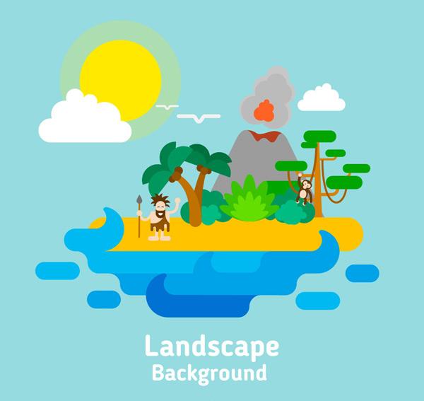 Island volcano landscape Vector AI