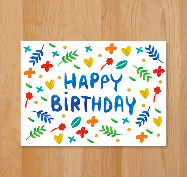 Leaf birthday cards vector