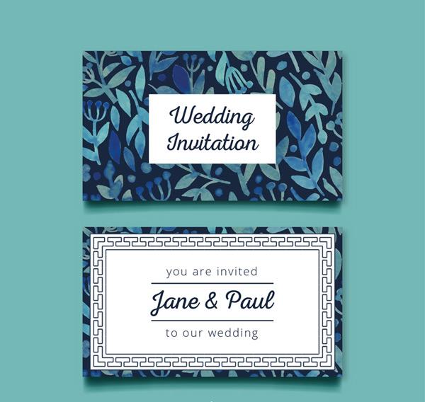 Leaf wedding invitation cards Vector AI