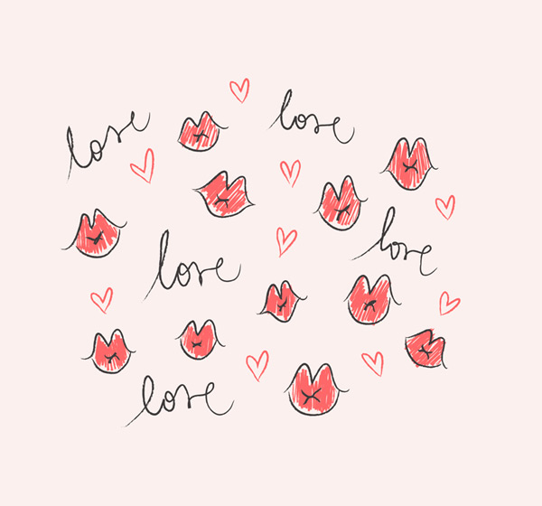Lips and love backgrounds Vector AI