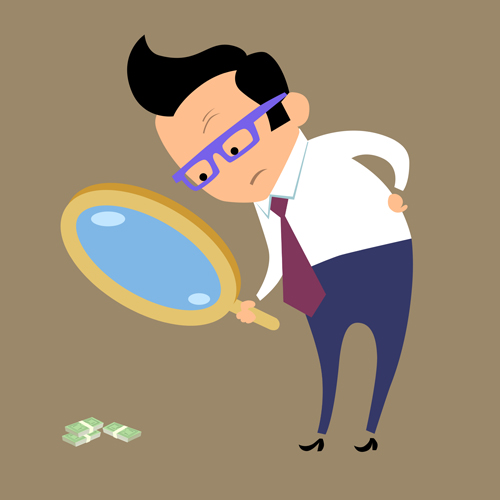 Magnifying glasses and business people Vector EPS