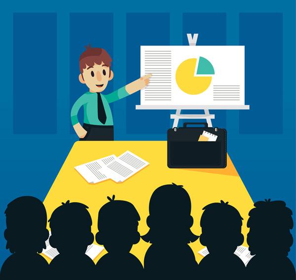 Men business presentation Vector AI