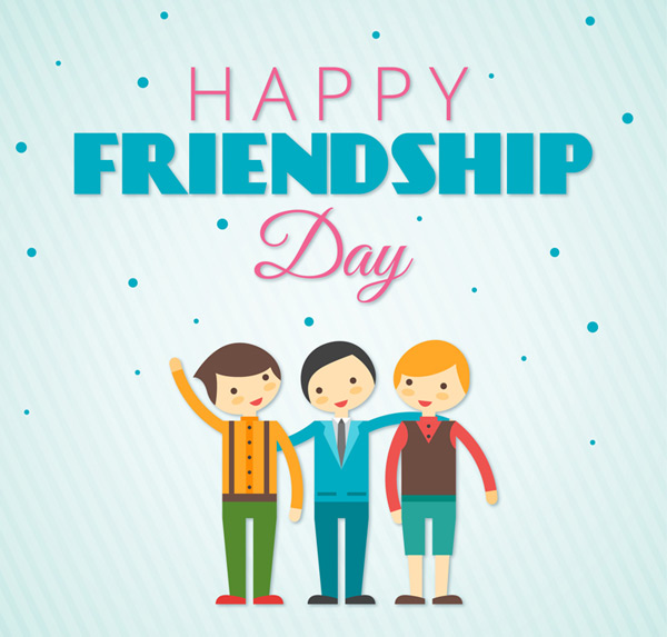 Men's Friendship Day greeting cards vector