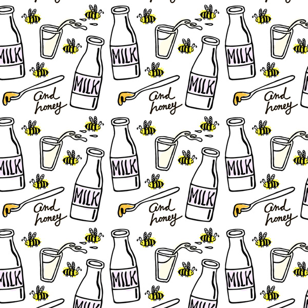 Milk and bee background Vector AI