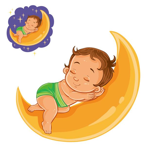 Moon sleeping baby Vector EPS