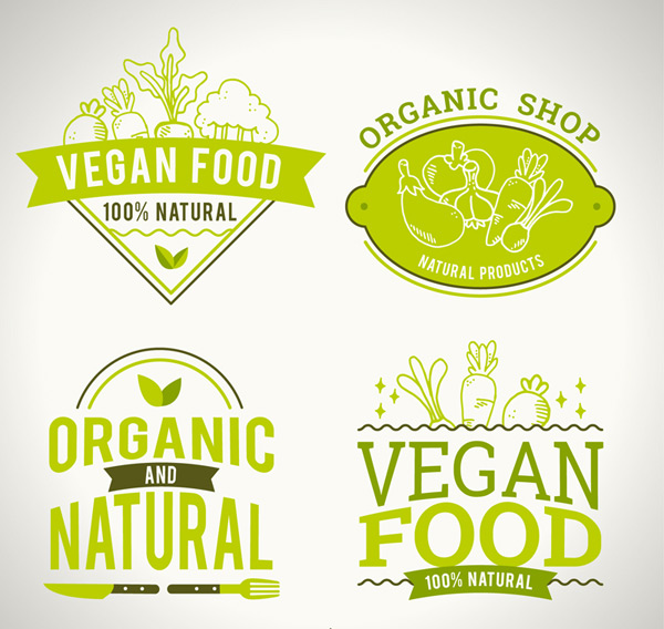 Natural vegetarian labels Vector AI