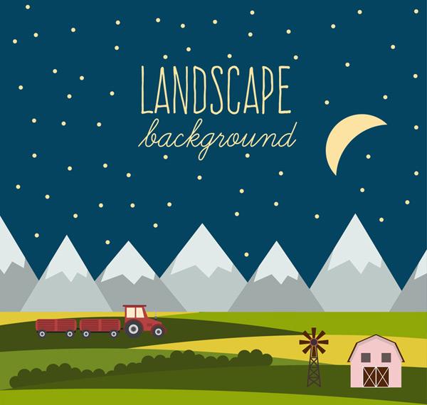Night mountain farm landscapes Vector AI