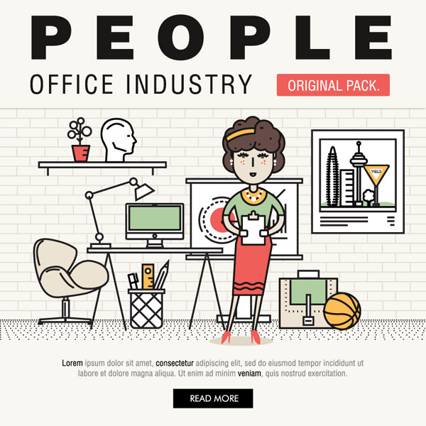 Office character illustration Vector AI