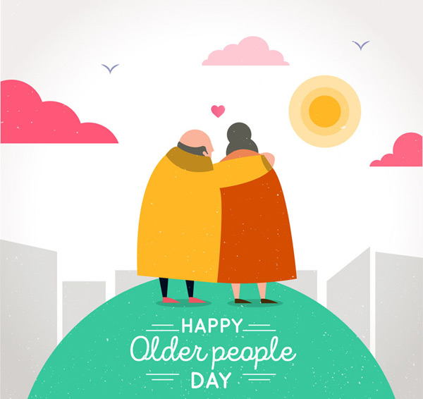 Old couples watching the sunset Vector AI