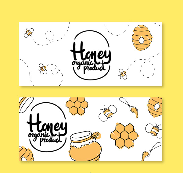 Organic honey banner Vector AI