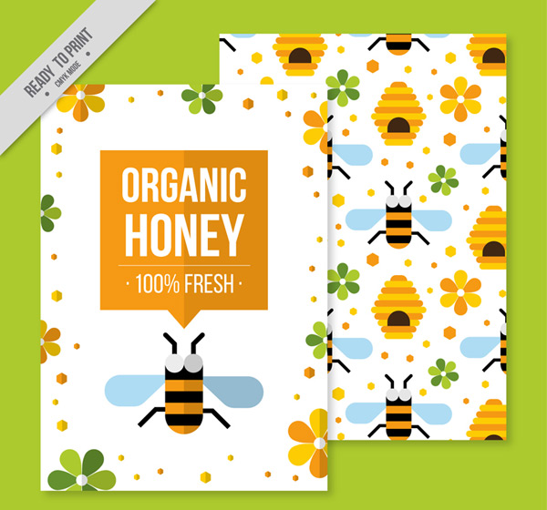 Organic honey flyer Vector AI