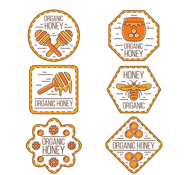 Organic honey labels Vector AI