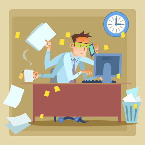 Overtime busy business people Vector EPS