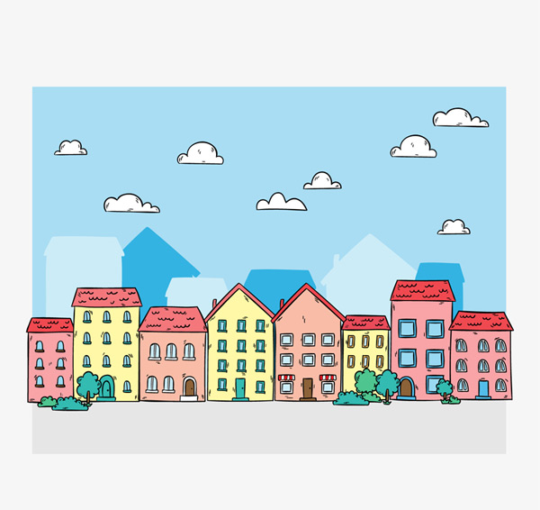 Paint town buildings Vector AI