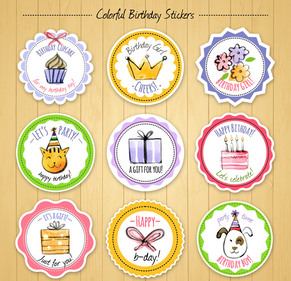 Painted birthday stickers Vector AI