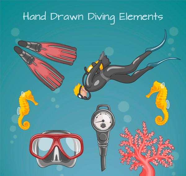Painted dive element Vector AI