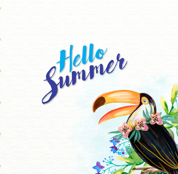 Painted hornbills and flowers Vector AI