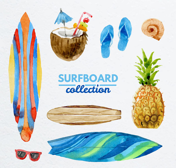 Painted surf element Vector AI