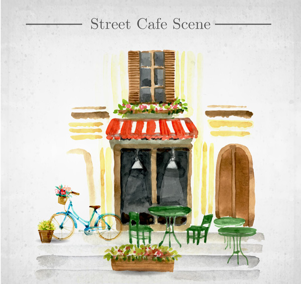 Painted water Street coffee shop Vector AI