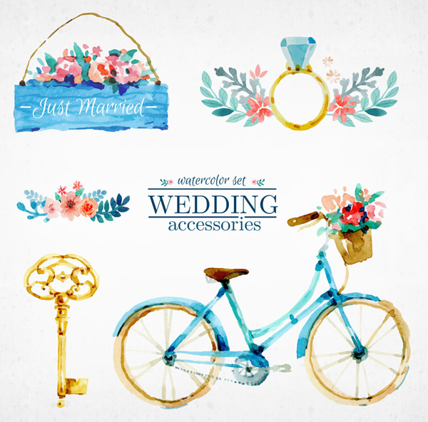 Painted wedding decorations Vector AI