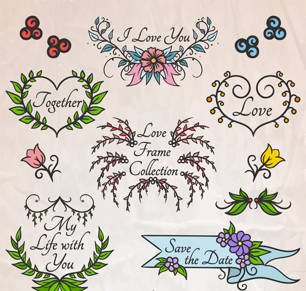Painting flowers and wedding frame vector