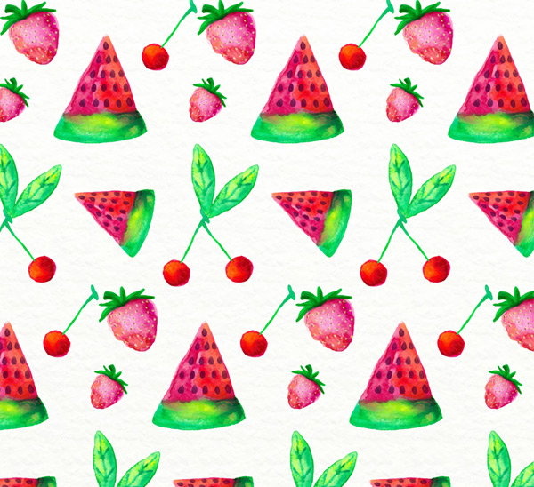 Painting fruit seamless background Vector AI