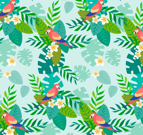 Parrot seamless background Vector AI