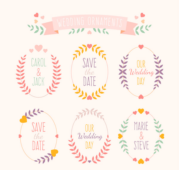 Pattern wedding labels Vector AI