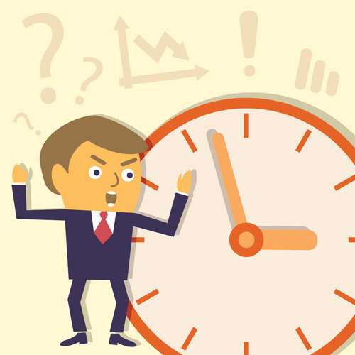 People in the workplace and the clock Vector EPS