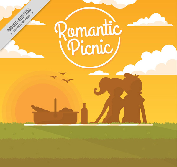 Picnic lovers silhouettes Vector AI