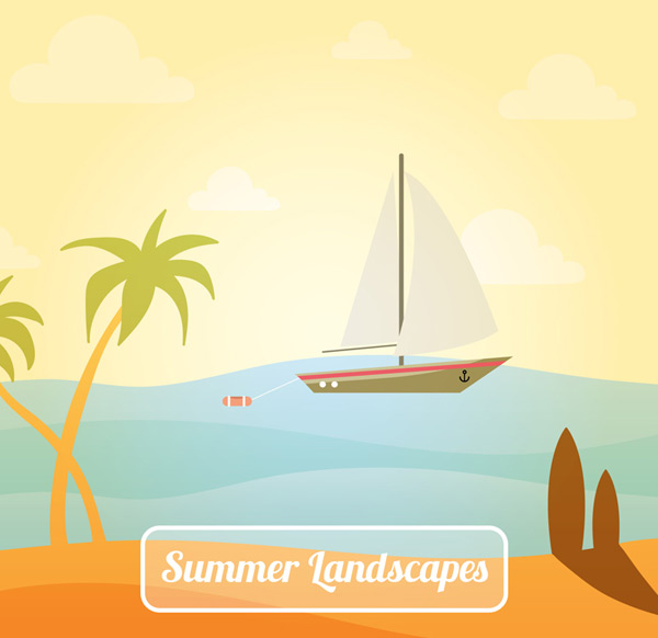 Sailing and coconut trees scenery Vector AI