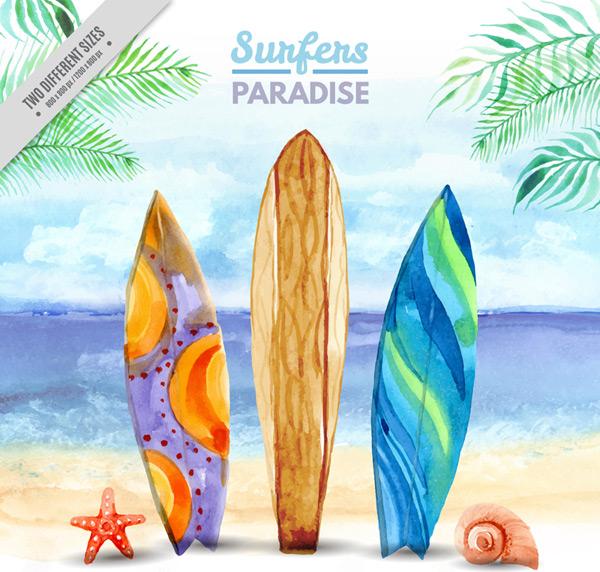 Sand on a surfboard Vector AI