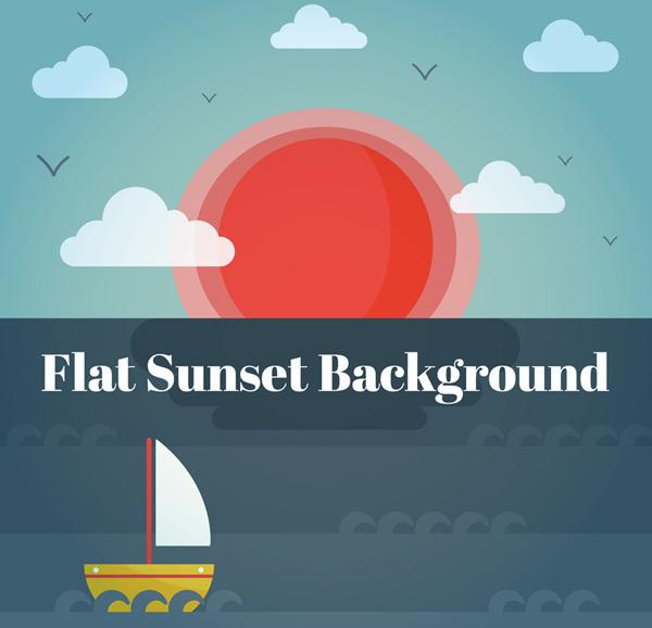 Sea sunset scenery Vector AI