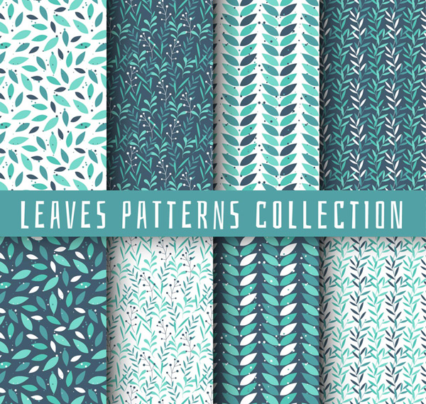 Seamless Leaves Patterns Background Vector