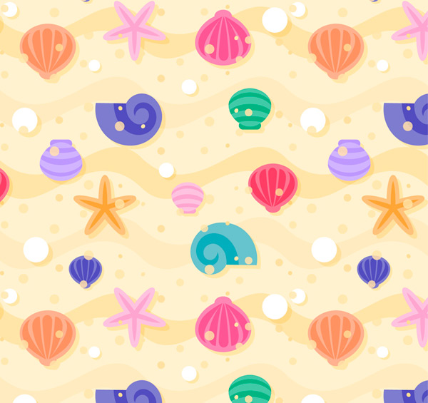 Shells and starfish background Vector AI