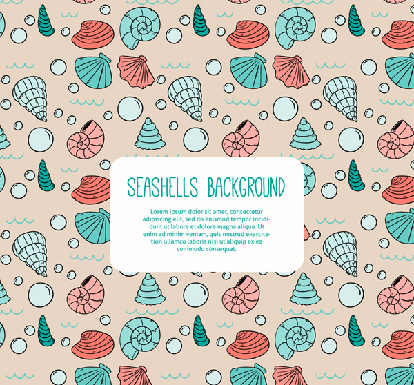 Shells of seamless background Vector AI