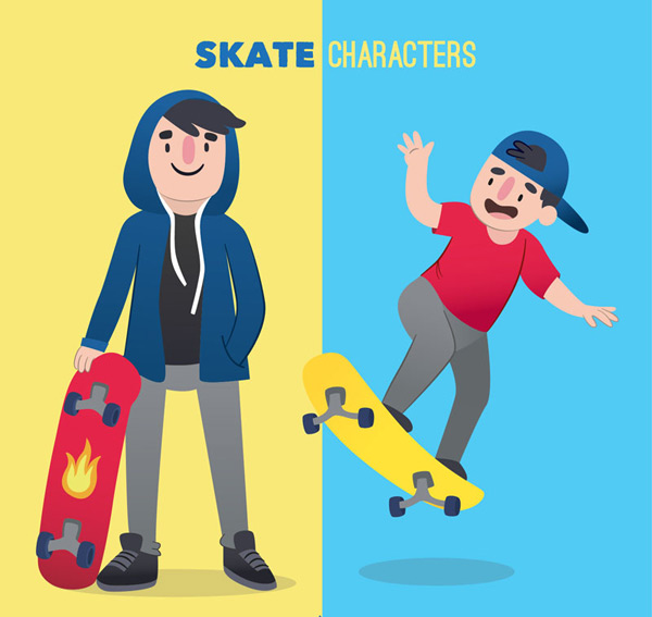 Skateboard man Vector AI