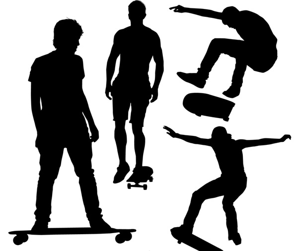 Skateboard silhouette man, Vector AI