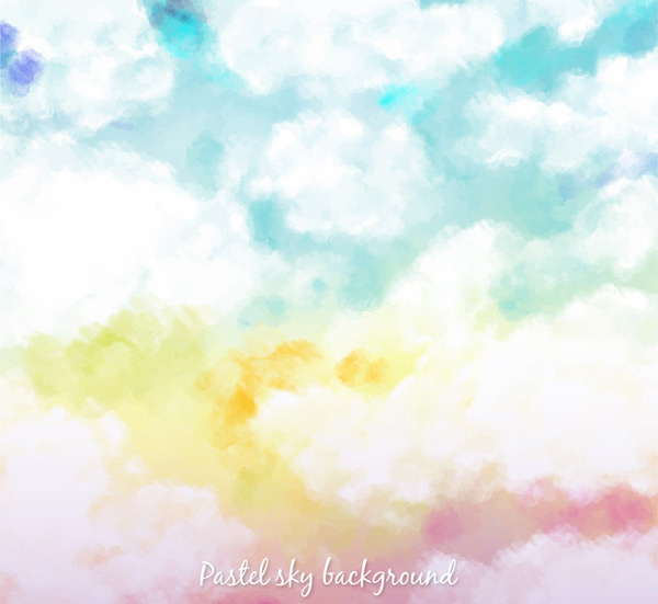 Pastel Sky Clouds background vector