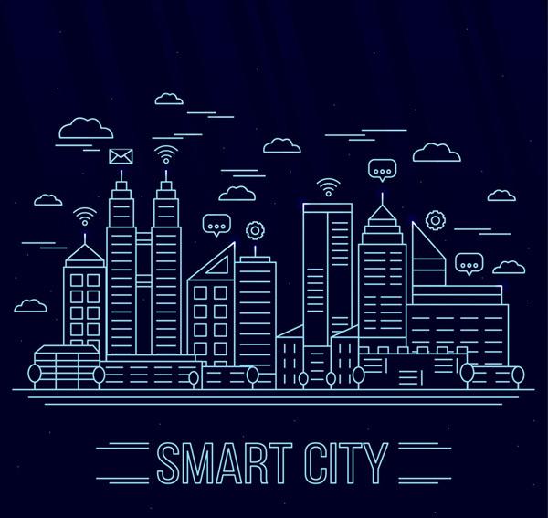 Smart City architecture landscape Vector AI