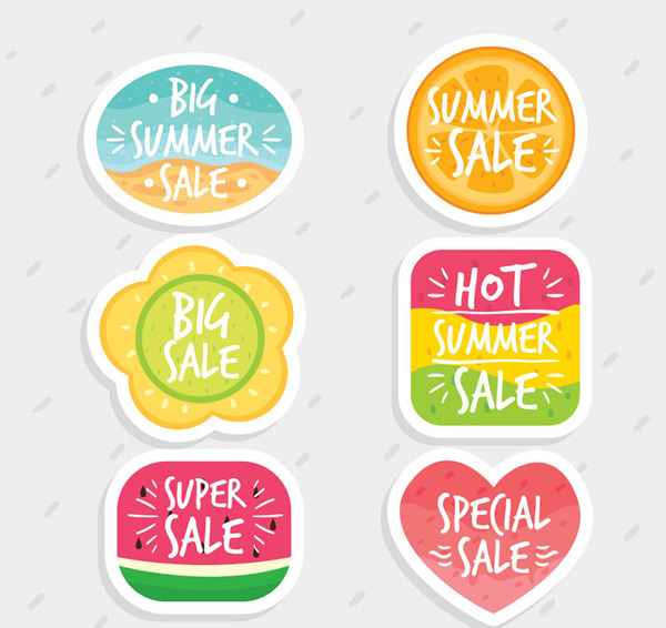 Special summer promotional labels Vector AI