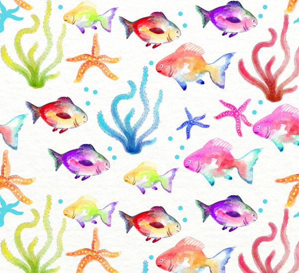 Starfish and fish backgrounds Vector AI