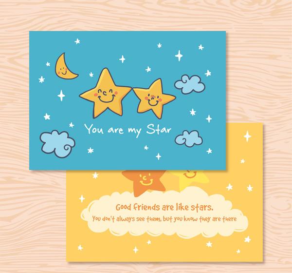 Stars friendship cards Vector AI