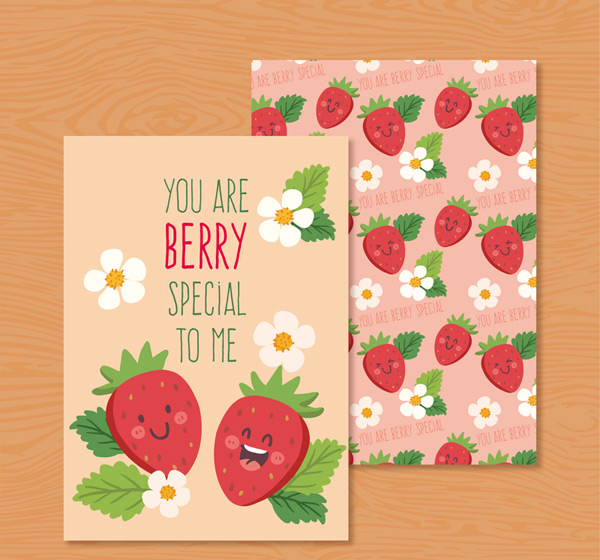 Strawberry friendship greeting cards Vector AI